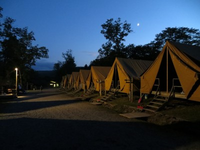 Lake Delaware Boys' Camp at twilight.