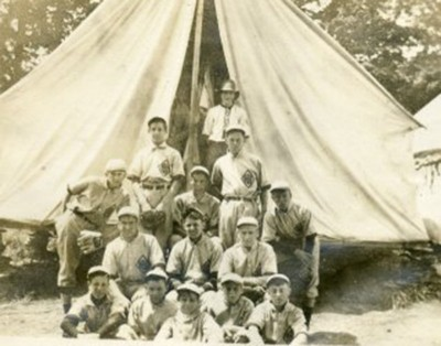 LDBC boys in front of tent.