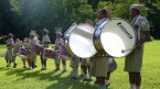 The drum and bugle corps performs on the parade ground.