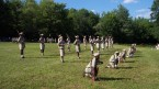 Parade ground exercises at Lake Delaware Boys' Camp.
