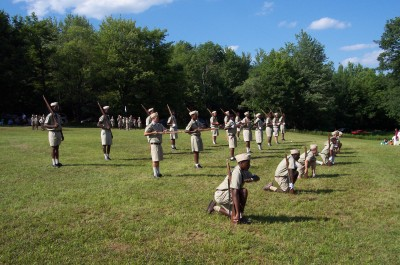 Parade ground exercises at Lake Delaware Boys' Camp.